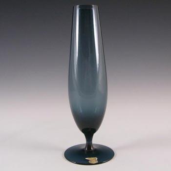 Gullaskruf Smokey Blue Swedish Glass Vase - Labelled