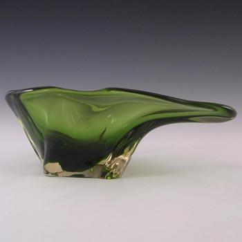 Harrachov Czech 1950s Green Glass Sculpture Bowl #5/3576