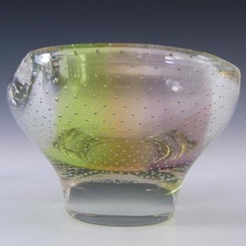 Harrachov Czech Vintage Pink + Yellow Glass Sculpture Bowl