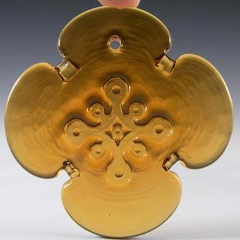Holmegaard Michael Bang Amber Glass 'Cross' Suncatcher