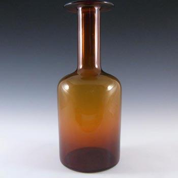 Holmegaard Otto Brauer Amber Glass Gulvvase / Gul Vase