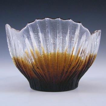 Humppila Amber Glass Bowl by Pertti Santalahti - Labelled