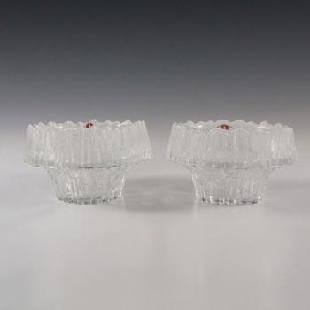 Iittala Glass Stellaria Candlesticks Tapio Wirkkala - Label