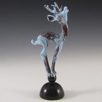 Istvan Komaromy 1950's Figural Blue Glass Stag Sculpture