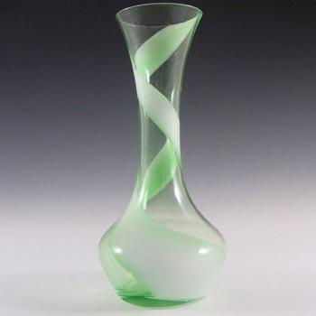 Japanese Kamei/Enesco Green & White Glass Vase - Labelled