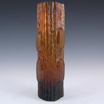 Japanese 'My Lady' Bark Textured Amber Glass Vase