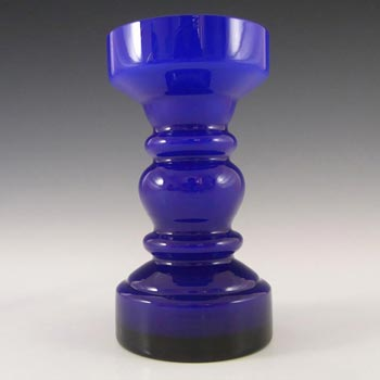Japanese Blue Cased Hooped Glass Vase - Swedish Style