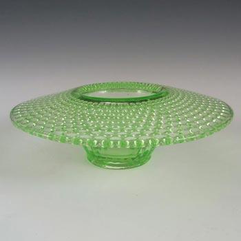 Jobling #2595 Uranium Green Art Deco Glass Posy Bowl