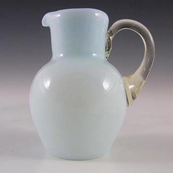 Victorian Opaque Custard Glass Blue & Ivory Cased Creamer/Jug