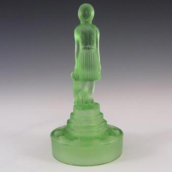 RARE Art Deco Uranium Green Glass Girl + Dog Figurine