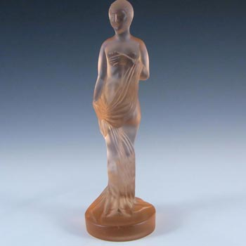 Müller & Co Art Deco Frosted Pink Glass Nude Lady Figurine