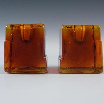 Lindshammar Pair 1970's Swedish Orange Glass Candlesticks