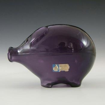 Lindshammar Swedish Purple Glass Piggy Bank by Gunnar Ander