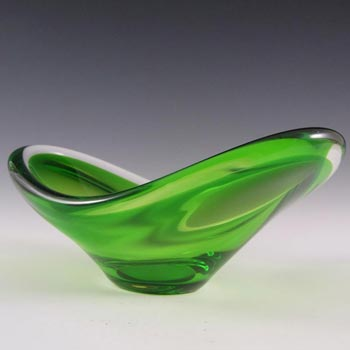 Magnor Norwegian 70's Green Cased Glass Bowl - Signed