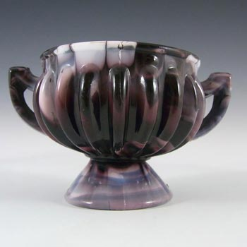 Sowerby #1299 Victorian Purple Malachite/Slag Glass Bowl