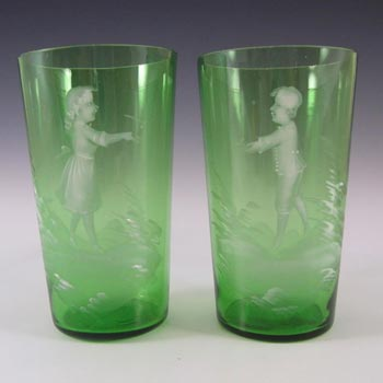Mary Gregory Bohemian Hand Enamelled Green Glass Tumblers
