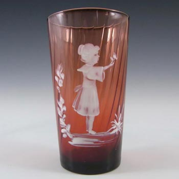 Mary Gregory Bohemian Hand Enamelled Glass Vase/Tumbler