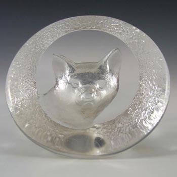 Mats Jonasson #9177 Glass Fox Paperweight - Signed