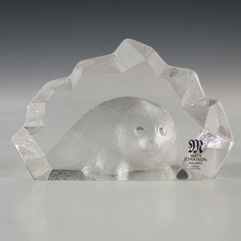 Mats Jonasson #88100 Glass Baby Seal Paperweight - Signed