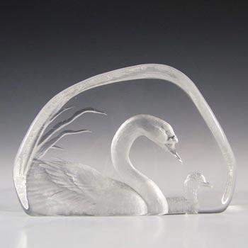 Mats Jonasson #3317 Glass Swan Paperweight - Signed