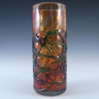 Mdina Maltese Red & Blue Mottled Glass Vase - Signed