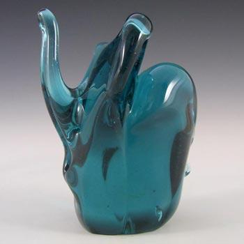 Mdina Maltese Turquoise Glass Elephant - Signed