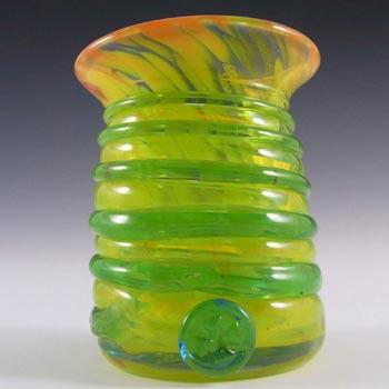 Mdina Maltese Yellow & Blue Mottled Glass Vase - Signed