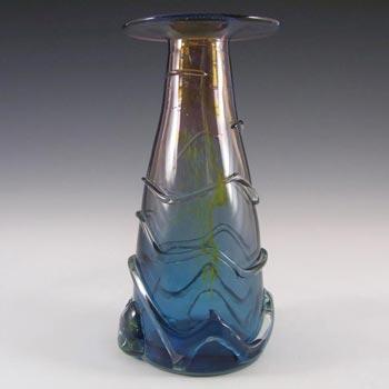 Mdina Purple & Blue Trailed Glass 'Helter Skelter' Vase - Signed