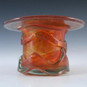 Mdina Maltese Orange Trailed Glass 'Top Hat' Vase