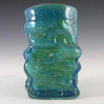 Mdina Maltese 1970's Blue & Green Bark Textured Glass Vase