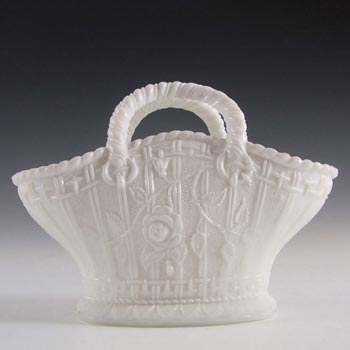 Antique 1890's Victorian White Milk Glass Basket Bowl