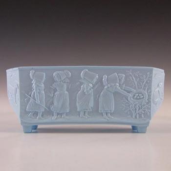 Sowerby #1219 Victorian Blue Milk / Vitro-Porcelain Glass Posy Trough - Marked