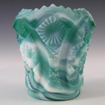 Imperial Glass Malachite/Slag Spill Vase - Marked