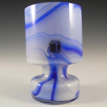 Carlo Moretti Marbled Blue & White Murano Glass Vase - Label