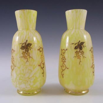 Pair of Welz Bohemian Lemon Yellow & White Spatter Glass Vases