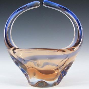Mstisov/Moser Czech Amber & Blue Glass Organic Vase