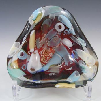 Murano Silver Leaf + Murrine Canes Red Glass Bowl