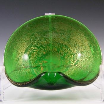 Murano 1950's Green & Gold Leaf Glass Biomorphic Bowl