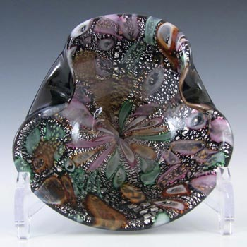 Murano 1950's Silver Leaf + Murrines Black Glass Bowl