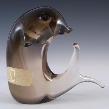 V. Nason & Co Murano Amber Glass Dolphin Sculpture - Label