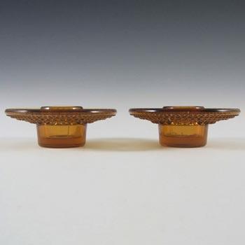 Cascade / Wood Bros Amber Glass 'Kastehelmi' Candle Holders