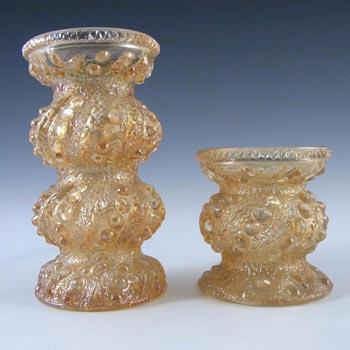 2 x Oberglas Austrian Textured Glass Vases / Candlesticks