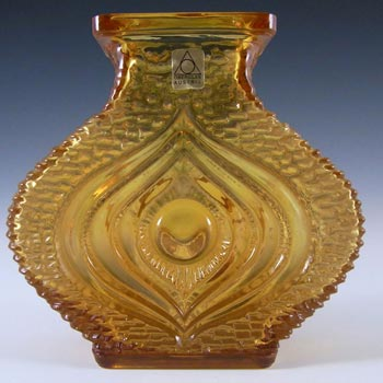 Oberglas Amber Glass Textured 'Eye' Vase - Labelled