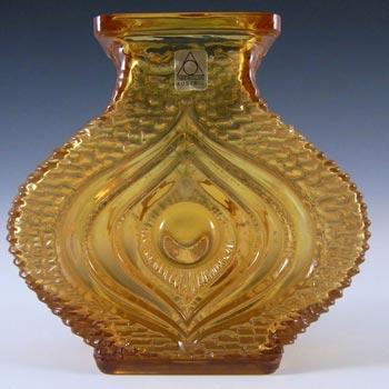 Oberglas Amber Glass Textured 'Eye' Vase - Labelled