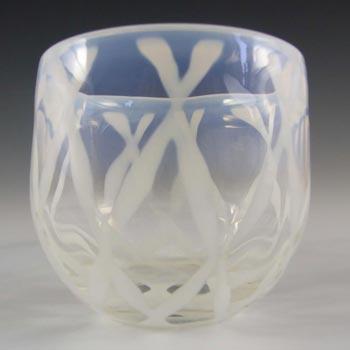 Opalescent White Glass Posy Bowl - Polished Pontil Mark