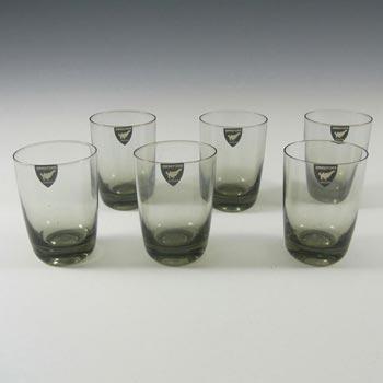 Orrefors Set of 6 Swedish Smoky Glass Tumblers - Labelled