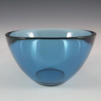 Orrefors Sven Palmqvist Blue Glass Fuga Bowl - Marked