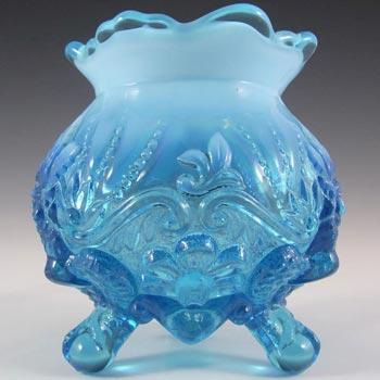 Victorian 1900's Blue Pearline Glass 'Piasa Bird' Vase