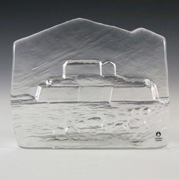 Pukeberg Swedish Glass Island Paperweight - Labelled