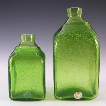 Reijmyre Swedish Bubbly Green Glass Bottles - Labelled